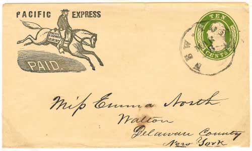 Pacific Express franked 10c entire from California to Walton, New York. Placed in the mails in New York City by Pacific Express.